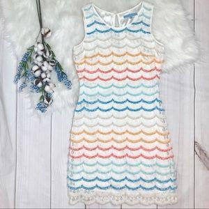 Antonio Melani Rainbow Scalloped Lace Dress